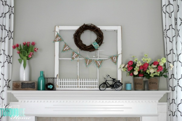 Spring Mantel | TheTurquoiseHome.com