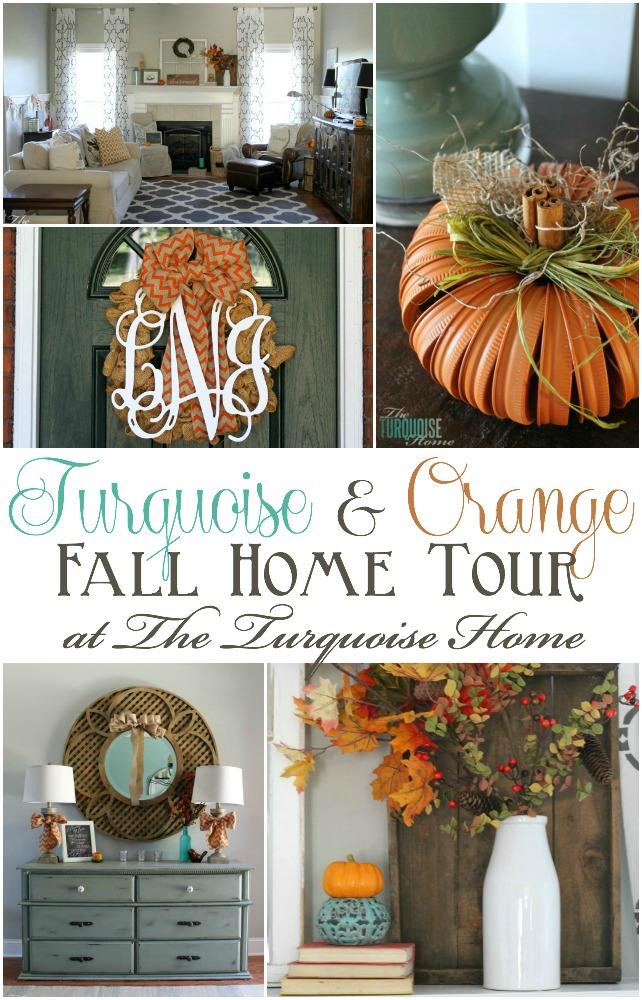Turquoise and Orange Fall Home Tour   TheTurquoiseHome.com
