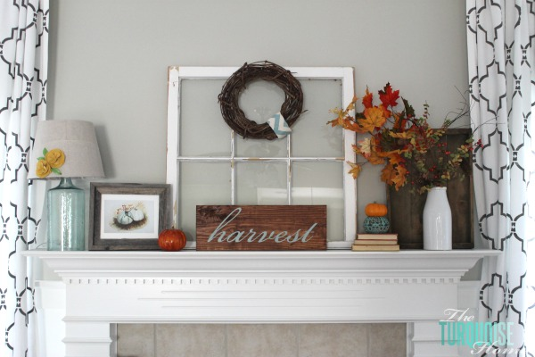 Turquoise and Orange Fall Harvest Mantel
