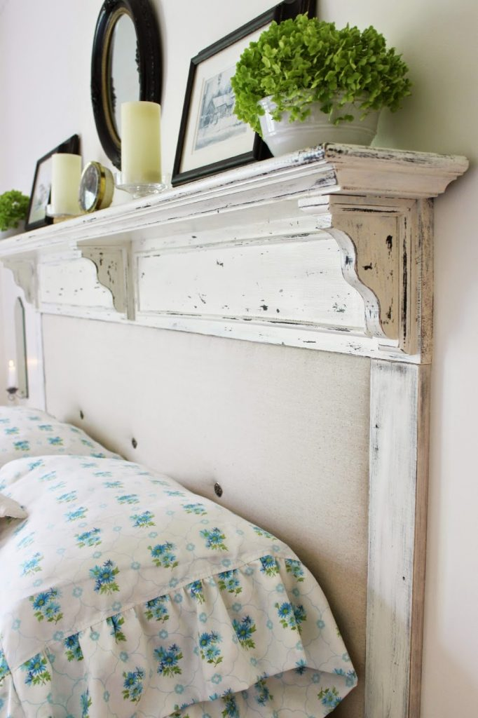 Updated Distressed Tufted Headboard