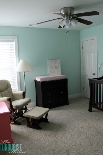 Benjamin Moore Lido Green   Baby Girl's Nursery   TheTurquoiseHome.com