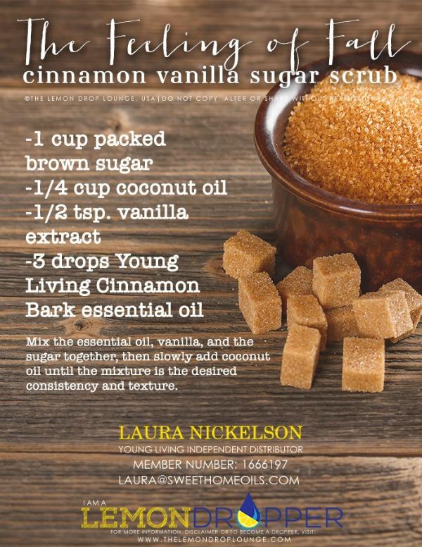 Cinnamon and Vanilla Fall Sugar Scrub with Essential Oils | TheTurquoiseHome.com