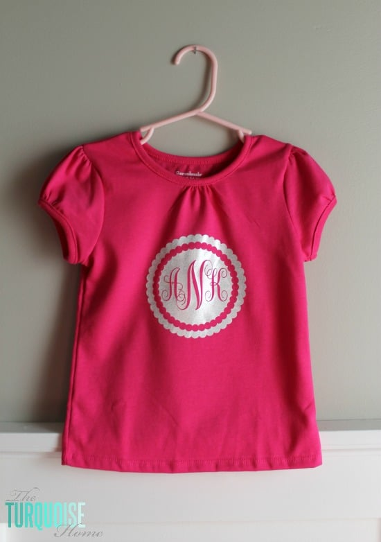 Customize a t-shirt any way you'd like! DIY Glittery Monogrammed T-Shirt | TheTurquoiseHome.com
