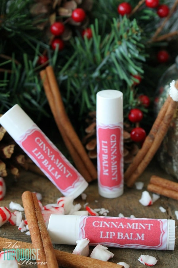 Simple 3-ingredient lip balms are sure to be a big hit in everyone's stocking this Christmas!! Homemade All-Natural Lip Balms | TheTurquoiseHome.com