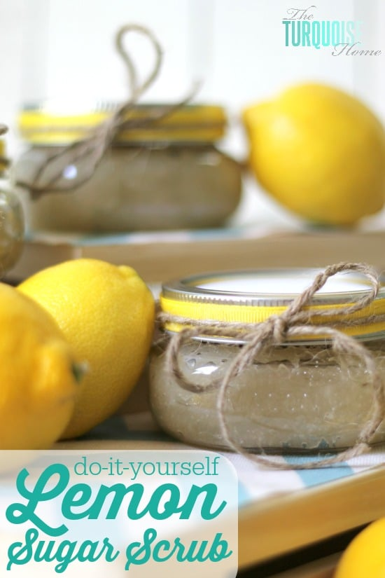 I'm making these for stocking stuffers!! DIY Lemon Sugar Scrub | TheTurquoiseHome.com