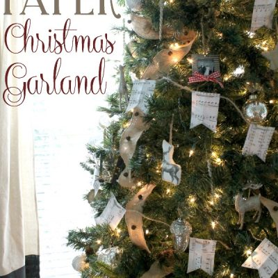 What a simple and easy way to fill a large Christmas tree. Both festive and cheap!! DIY Scrapbook Paper Christmas Garland | TheTurquoiseHome.com