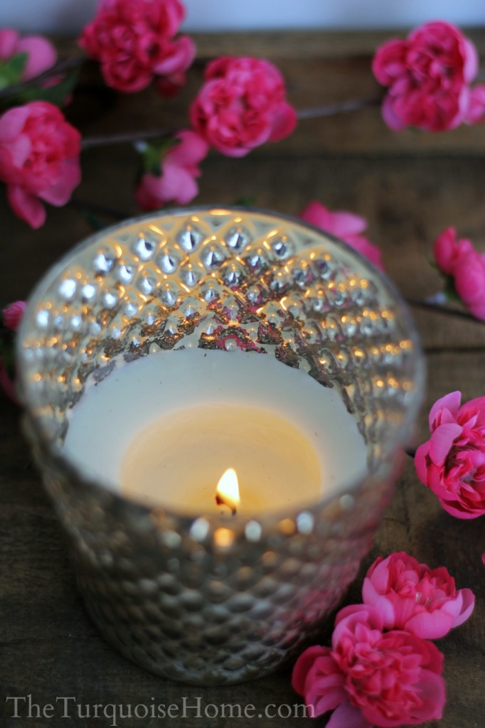 Take an old candle and make a pretty gift with it! DIY Upcycled Old Candles | TheTurquoiseHome.com