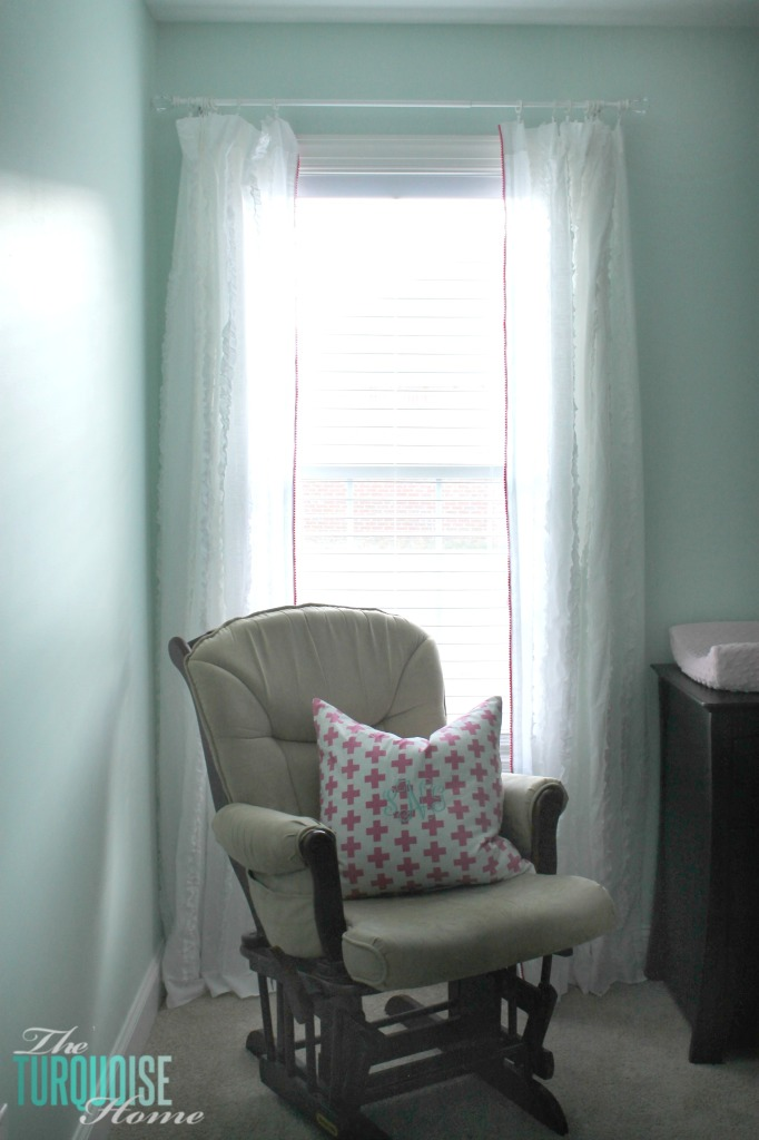I love the little detail of the pom pom trim. And it's no-sew, my favorite!! Sweet Nursery Curtains with No-Sew Pom Pom Trim | TheTurquoiseHome.com