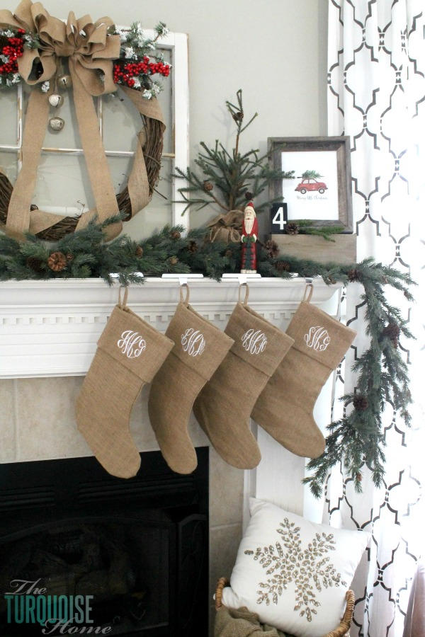 Burlap Christmas Stockings.Simple Burlap Christmas Mantel The