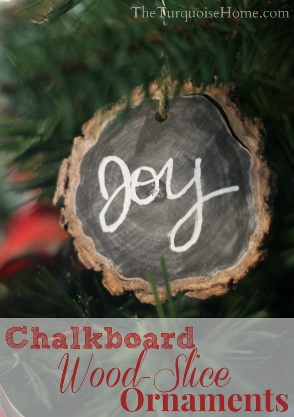 Chalkboard Wood Slice Ornament | TheTurquoiseHome.com