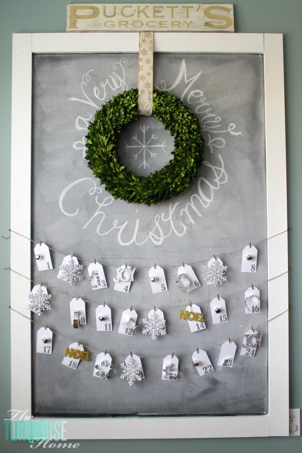 Christmas Chalkboard with Advent Calendar | Christmas Decorating in the Kitchen | TheTurquoiseHome.com