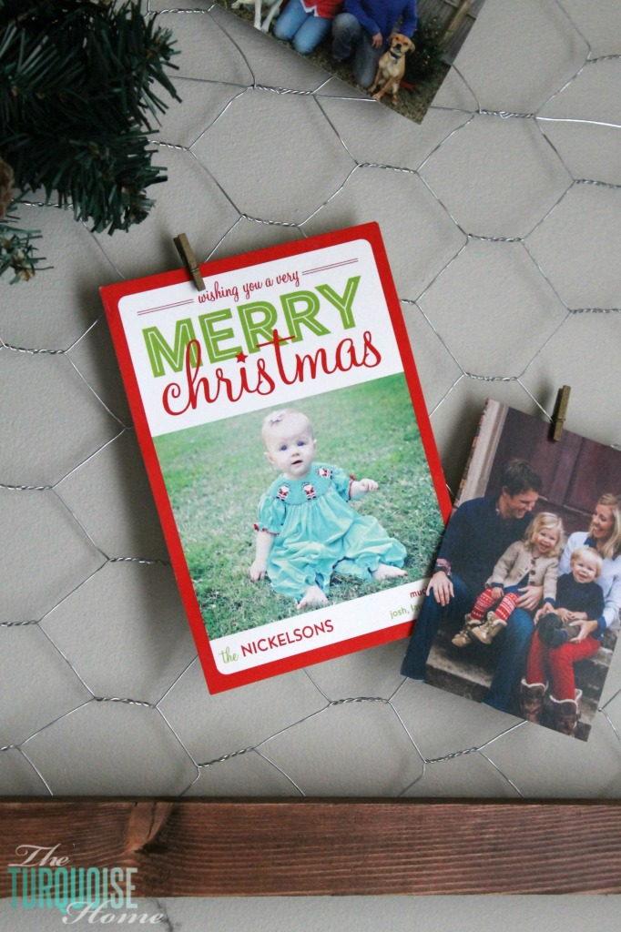DIY easy framed chicken wire Christmas card holder | Simple Winter and Christmas Decor in the Living Room | TheTurquoiseHome.com