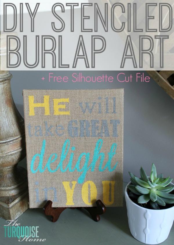 DIY Stenciled Burlap Art | TheTurquoiseHome.com