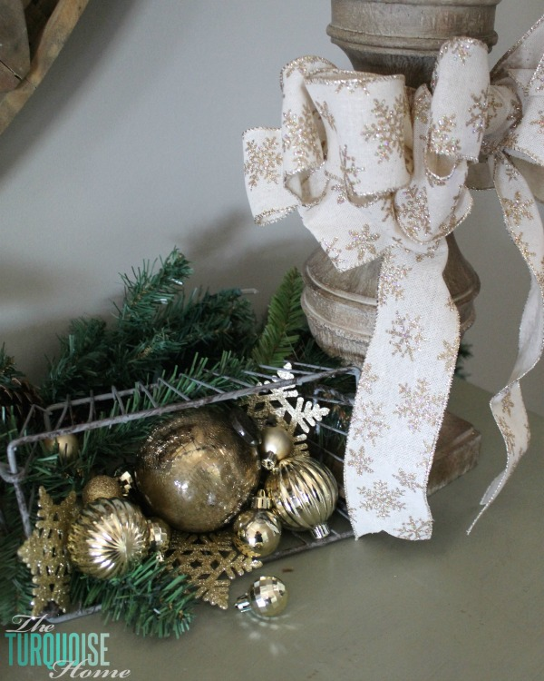 Use gold ornaments and sparkle to carry your decor from Christmas to winter! | How to Use Winter Decorations for Christmas