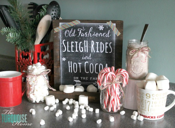 Hot Chocolate Bar and Christmas Decorations in the Kitchen | TheTurquoiseHome.com