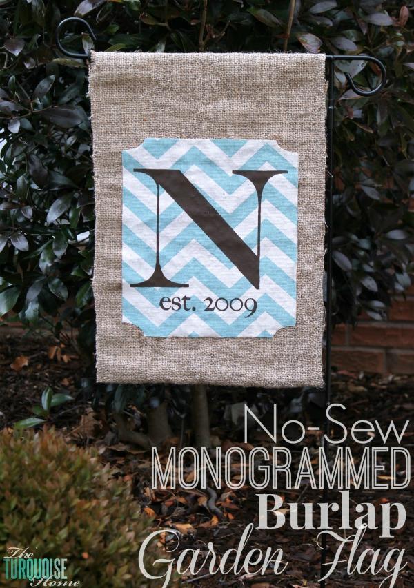 No-Sew Monogrammed Burlap Garden Flag | TheTurquoiseHome.com