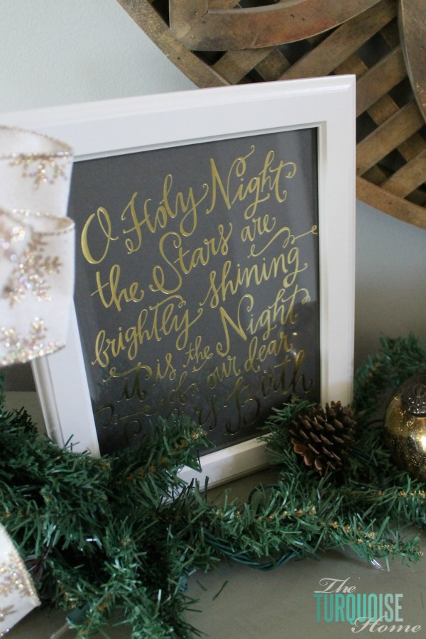 O Holy Night Lindsay Letters Art | Christmas Decorating in the Entry Way | TheTurquoiseHome.com