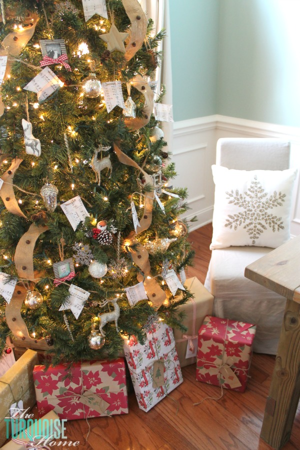 Rustic Glam Christmas Tree | Rustic Wrapped Christmas Gifts with Kraft Paper | TheTurquoiseHome.com