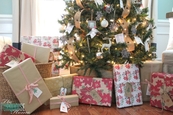 Rustic Wrapped Christmas Gifts with Kraft Paper | TheTurquoiseHome.com