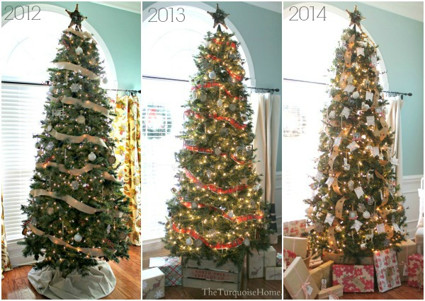 three years of christmas trees rustic glam and plaid christmas trees theturquoisehomecom