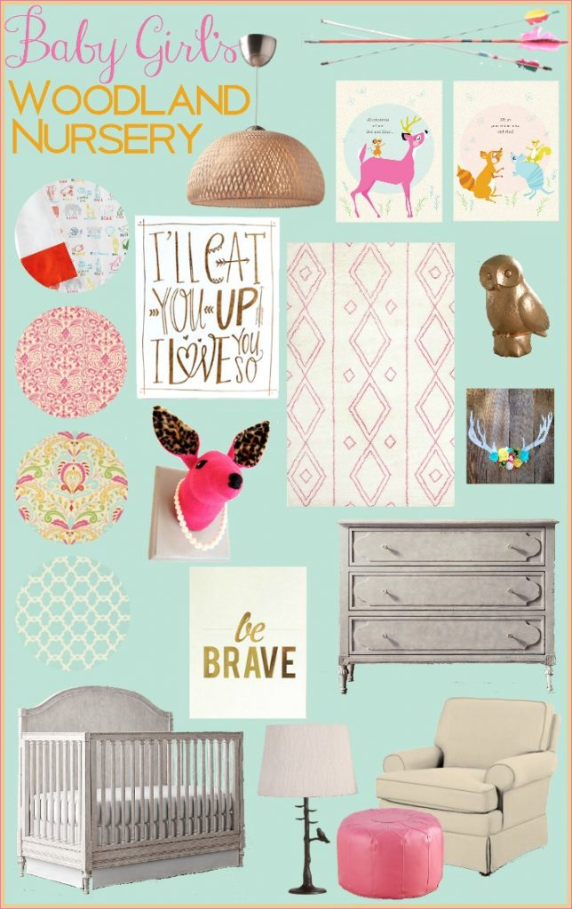 Baby Girl's Woodland Nursery Inspiration Board | TheTurquoiseHome.com