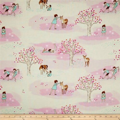 Michael Miller Wee Wander Woods Petal Fabric | TheTurquoiseHome.com