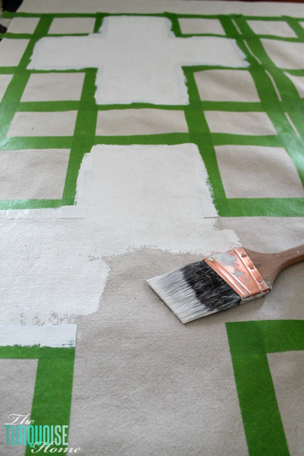DIY Painted Drop Cloth Rug | TheTurquoiseHome.com