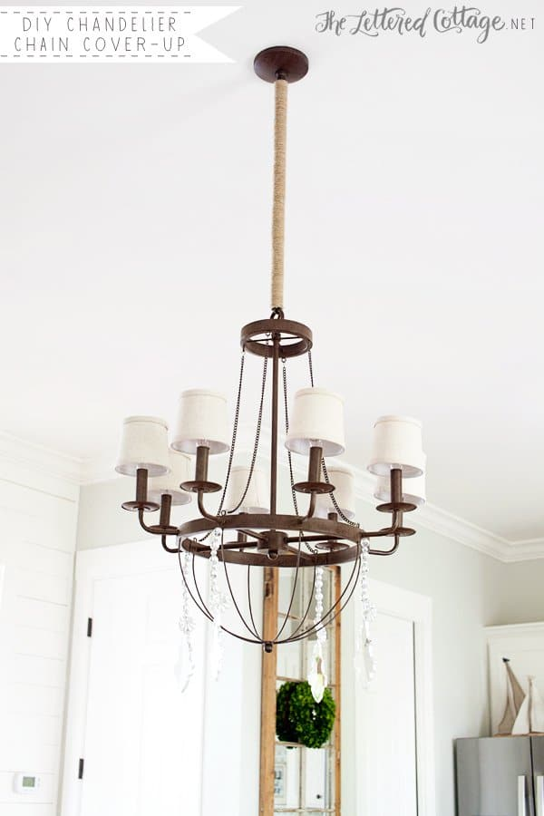 Beautiful Chandelier with Twine Chain Cover