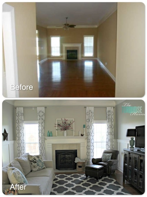 Before and After Living Room Makeover | TheTurquoiseHome.com