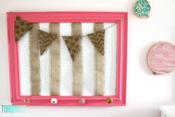 DIY Gold, Pink & Burlap Accessories Holder | TheTurquoiseHome.com