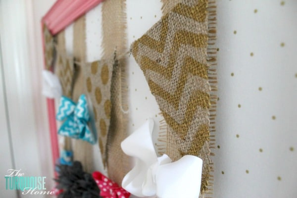 DIY Gold, Pink & Burlap Accessories Holder | TheTurquoiseHome.com