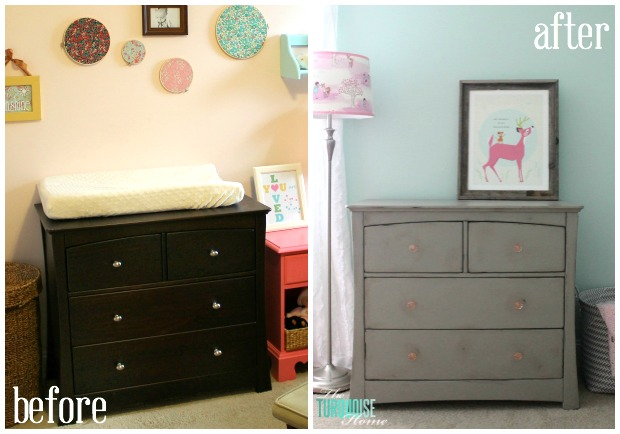 Gray Chalk Paint Dresser Makeover: Before and After | TheTurquoiseHome.com