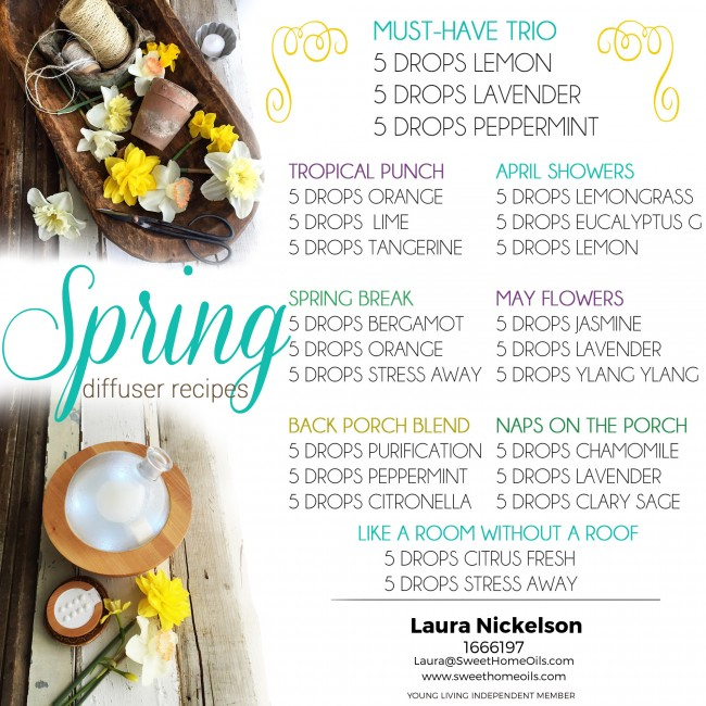 Spring is in the air, and so are our diffuser recipes! LOVE that MUST-HAVE TRIO! It's always in my diffuser this time of year.
