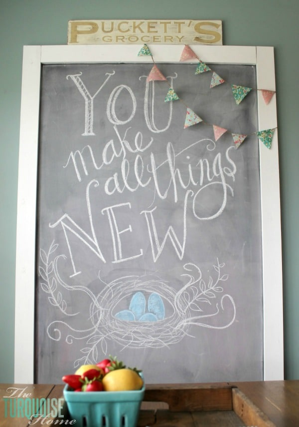 You Make All Things New | Spring Chalkboard Art | TheTurquoiseHome.com