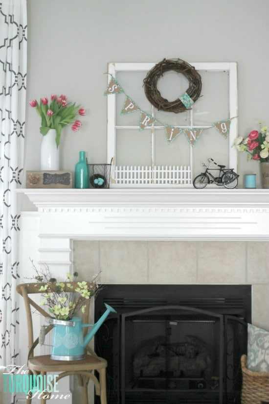 turquoise-pink-flowers-spring-mantel-2