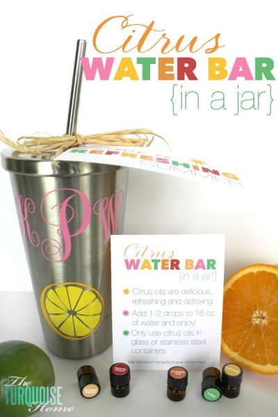"""Super refreshing citrus-infused water is not only yummy, but good for you too! Share them with a friend in this cute """"citrus water bar in a jar"""" gift idea with free printables! All the details and freebies via TheTurquoiseHome.com"""