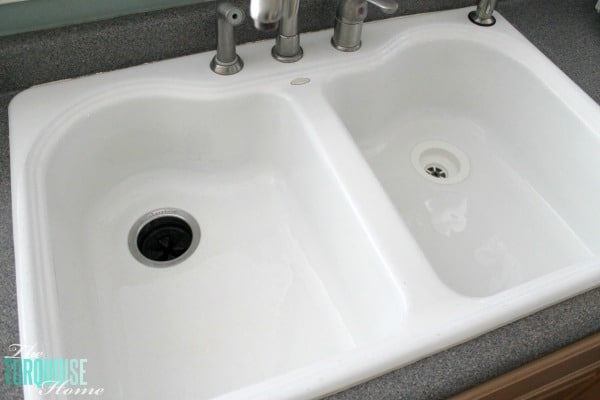 Before I found this all-natural DIY soft scrub, my husband thought my kitchen sink was an off-white color. But since discovering this amazing cleaning product (made with only 3 ingredients), I've cleaned my sink every day. It's whiter than when I used bleach on it! Get the recipe via TheTurquoiseHome.com