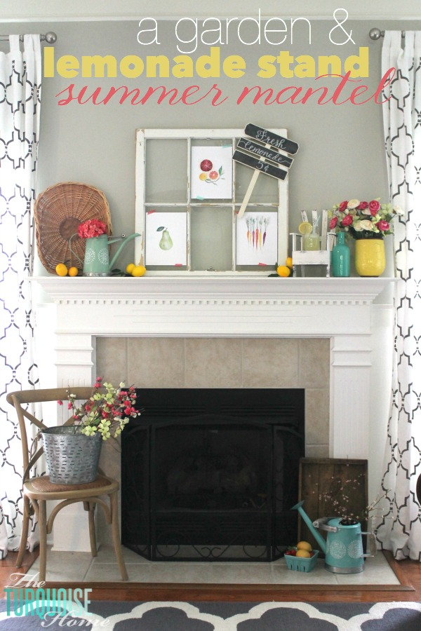 I love these fresh pops of colors and citrus inspiration on this fun summer mantel! A Garden and Lemonade Stand Summer Mantel. Get all the juicy details at TheTurquoiseHome.com
