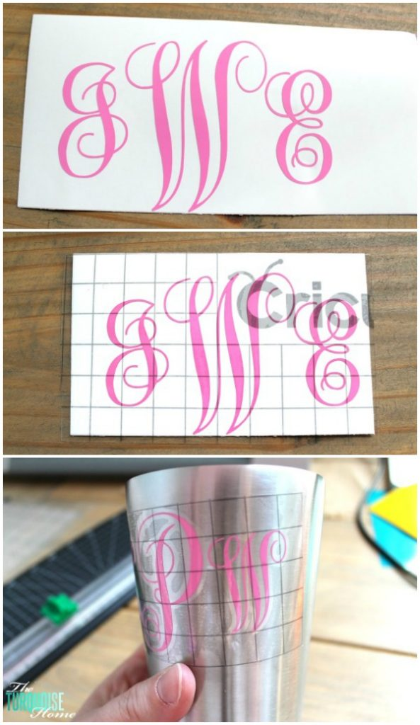 Great Summer Gift Idea!! How to apply a vinyl monogram to a non-flat surface like a cup. Super easy! Check out all the details via TheTurquoiseHome.com