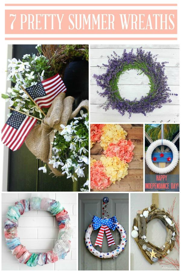 7 Pretty Summer Wreaths via TheTurquoiseHome.com