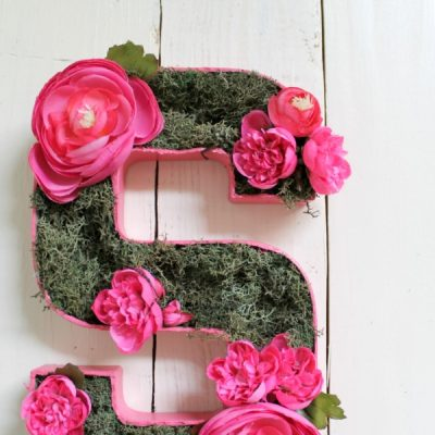 I love this sweet and simple DIY project - perfect for a baby girl's nursery | DIY Flower and Moss Initial Art via TheTurquoiseHome.com | DIY Monogram for girl's room