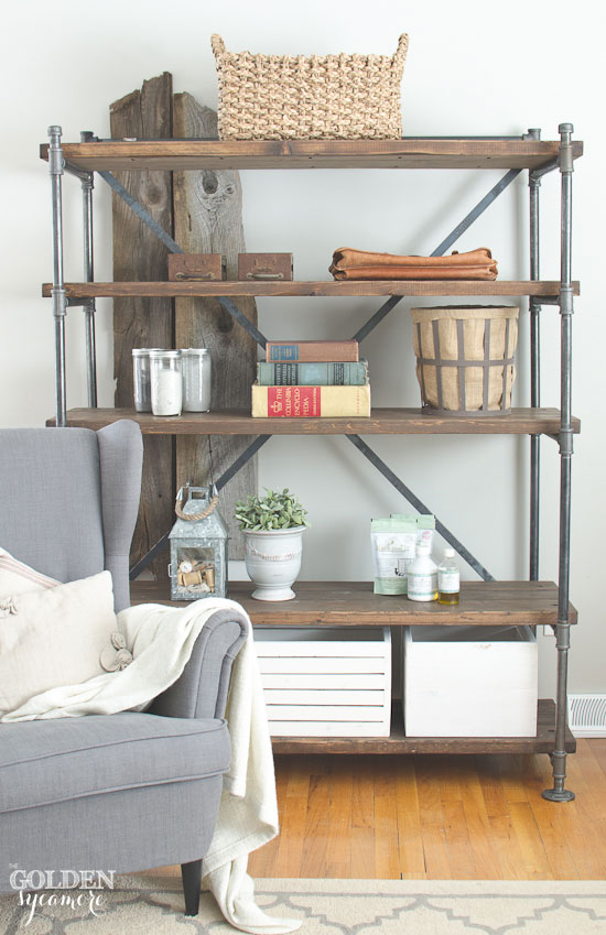 Industrial Wood and Pipe Shelves