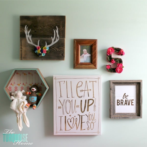 I love this sweet and simple DIY project - perfect for a baby girl's nursery | DIY Flower and Moss Initial Art via TheTurquoiseHome.com