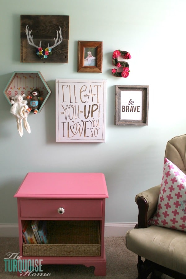Pink and Green Gallery Wall in Girl's Nursery