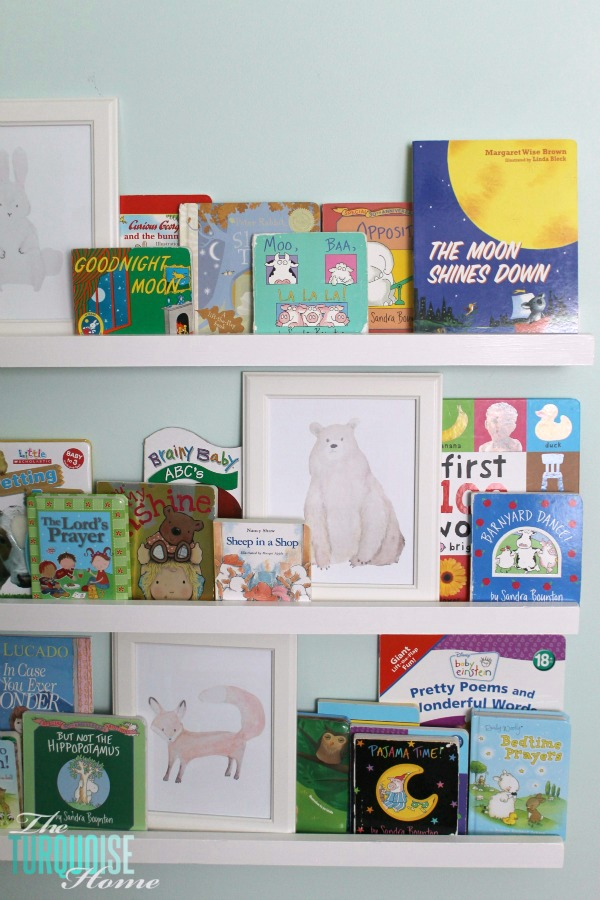 These simple DIY $10 ledges are easy to make; I love the price; and they make such a huge impact. Perfect for storing books on an empty wall in a kids room or play room. | Tutorial via TheTurquoiseHome.com