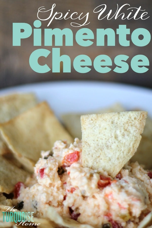 This delicious variation of pimento cheese will give a sharp twang and a spicy punch to your tastebuds. It'll keep you coming back for more and more of its cheesy, creamy, booty-kickin' goodness! Spicy White Pimento Cheese | Recipe via TheTurquoiseHome.com