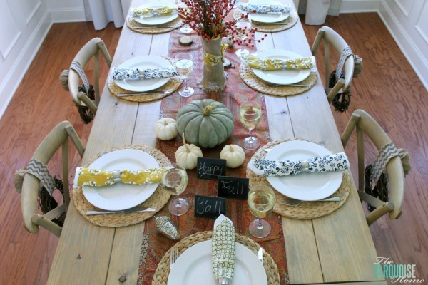 Beautiful Fall dining room table all set up to share with friends and family! | Details at TheTurquoiseHome.com
