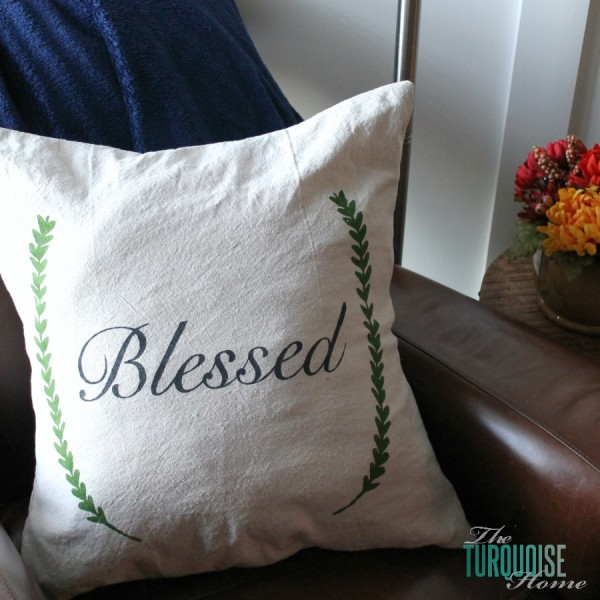 "DIY Stenciled ""Blessed"" Pillow Cover 