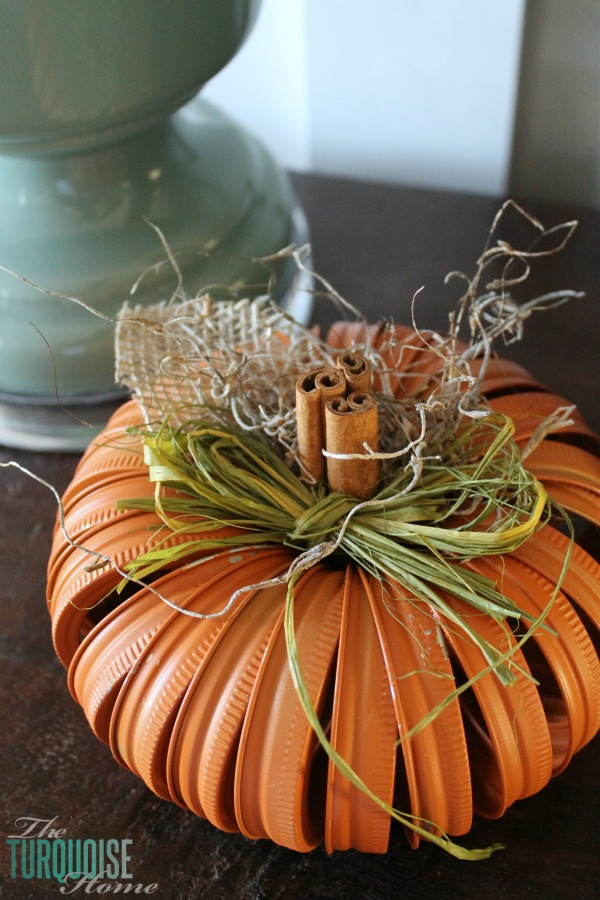 Mason Jar Ring Pumpkin Craft | Fall Home Tour | TheTurquoiseHome.com