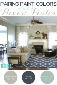 This is the most beautiful and versatile gray paint color out there. I love it in any room of the house and you can pair it with any other color. Love my Revere Pewter! Find out some great coordination colors! | Details at TheTurquoiseHome.com